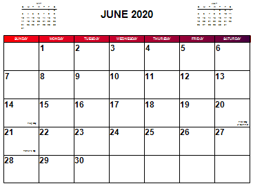 Small Picture of a June 2020 Calendar