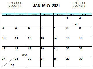 Small Picture of a January 2021 Calendar