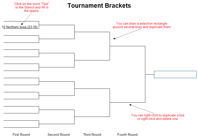 Tournament brackets for Basketball tournament program template